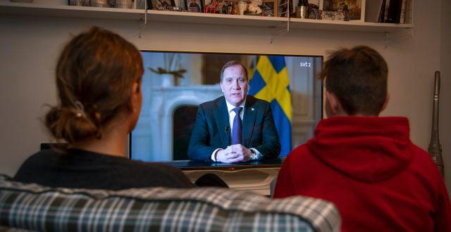Statsminister Stefan Löfven under årets första tal till nationen, 22 mars.  Anders Wiklund/TT / TT NYHETSBYRÅN