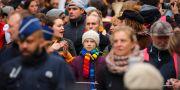 Greta Thunberg på demonstration.  Olivier Matthys / TT NYHETSBYRÅN