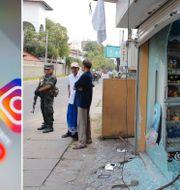 Soldater framför en vandaliserad butik. Arkivbild från den 6 maj.  TT