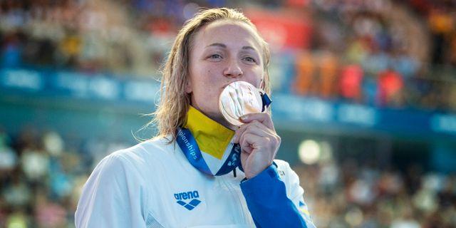 Sarah Sjöström vinner finalen på 50m fjäril under sim-VM i Gwangju 2019. Jessica Gow/TT / TT NYHETSBYRÅN