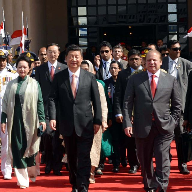 ISLAMABAD, PAKISTAN - APR 21: Prime Minister, Muhammad Nawaz Sharif with Chinese President Xi Jinping on his departure from Nur Khan Air Base on April 21, 2015 in Islamabad. Shutterstock