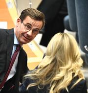 M-ledaren Ulf Kristersson och MP-språkröret Märta Stenevi. TT