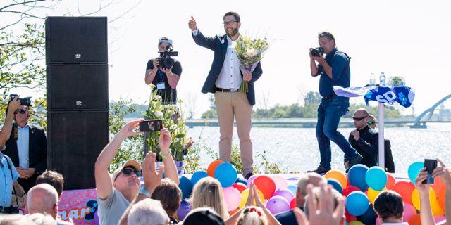 SD-ledaren Jimmie Åkesson i Sölvesborg. Johan Nilsson/TT / TT NYHETSBYRÅN