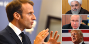 Emmanuel Macron, Hassan Rouhani, Vladimir Putin och Donald Trump. TT
