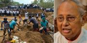 Arbetare gräver ner kistor efter terrordåen/Malcolm Ranjith. TT