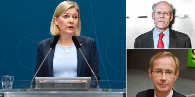 Till vänster: Finansminister Magdalena Andersson. Uppe till höger: Riksbankschefen Stefan Ingves. Nere till höger: SEB:s chefsekonom Robert Bergqvist.  TT