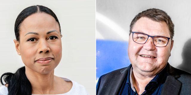 EU-kandidaterna Alice Bah Kuhkne (MP) och Peter Lundgren (SD). TT
