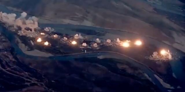 Skärmbild från Pentagons video av bombningen. Pentagon