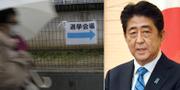 Kvinna utanför vallokal i Osaka och premiärminister Shinzo Abe. TT