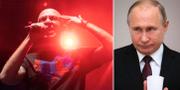 """Artisten """"Oxxxymiron"""" på en stödkonsert efter rapparen """"Huskys"""" gripande (t v), Vladimir Putin (t h). TT"""