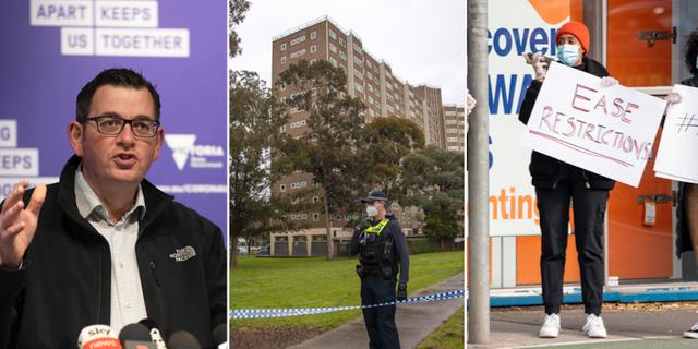 Daniel Andrews, avspärrat flerfamiljhus, protester mot nedstängningen i norra Melbourne. TT