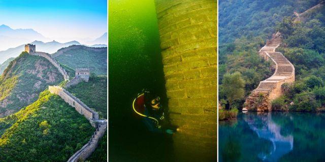 Kinesiska muren måste utan tvekan vara en av världens märkligaste dykdestinationer.  Thinkstock / China.org.cn / Wikicommons