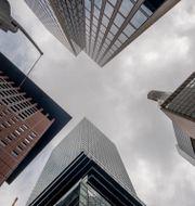 Illustrationsbild: Byggnader i bankdistriktet i tyska Frankfurt fotograferade nerifrån, april 2021.  Michael Probst / TT NYHETSBYRÅN