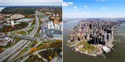 Till vänster: Värmdöleden med Nacka forum. Till höger: Södra Manhattan. TT