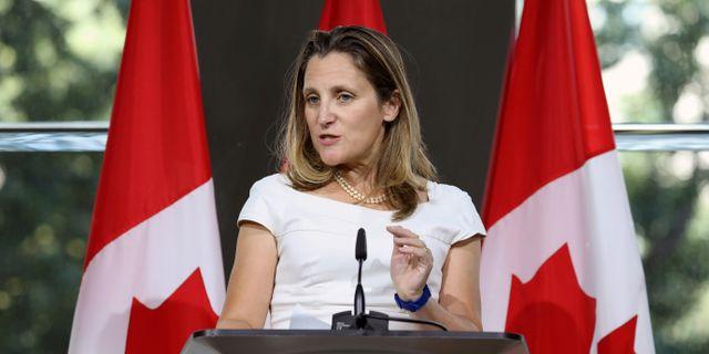 Arkivbild: Kanadas utrikesminister Chrystia Freeland Chris Wattie / TT NYHETSBYRÅN