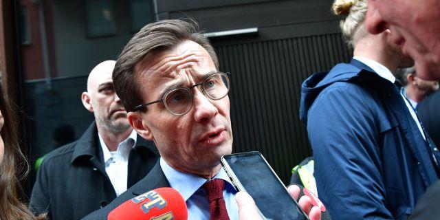 Ulf Kristersson i samband med regeringens möte med partiledarna om coronakrisen i onsdags. Jonas Ekströmer/TT / TT NYHETSBYRÅN
