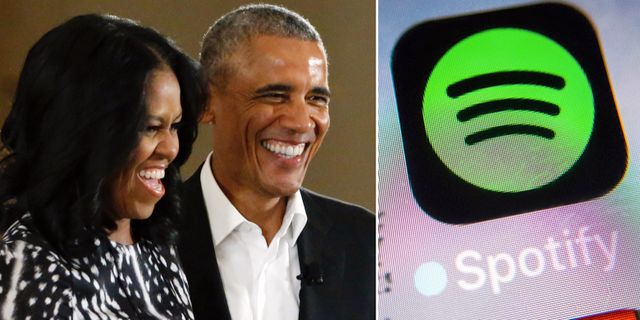 Arkivbilder: Paret Obama tecknar avtal med Spotify. TT