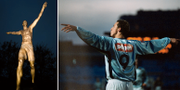Zlatan Ibrahimovic som staty i Malmö och Zlatan i MFF-tröjan. Bildbyrån/TT