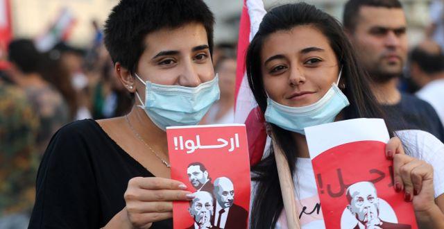 Demonstranter i Beirut. ANWAR AMRO / AFP