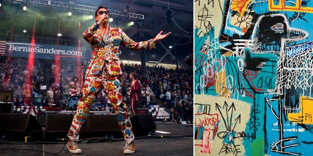"""The Strokes sångare Julian Casablancas under ett valmöte för Bernie Sanders/omslaget till """"The new abnormal"""". TT"""