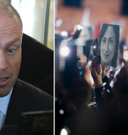 Joseph Muscat/protester för rättvisa för den mördade journalisten Daphne Caruana Galizia. TT