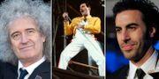 Från vänster: Brian May, Freddie Mercury och Sacha Baron Cohen.