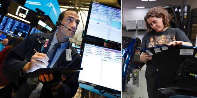 Trader på Wall Street. Fabriksarbetare i Ohio. Arkivbilder. TT