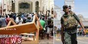 Bild inifrån en av kyrkorna / Vakter utanför en av kyrkorna som drabbats.  TT