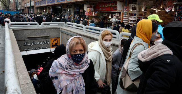 Tunnelbaneresenärer i Teheran under det persiska nyåret.  Vahid Salemi / TT NYHETSBYRÅN