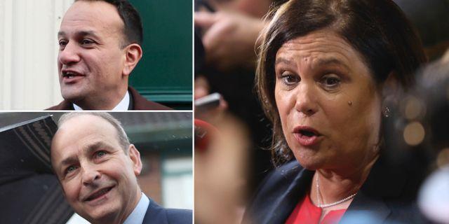 Leo Varadkar, Micheal Martin och Mary McDonald, partiledare för Sinn Féin. TT