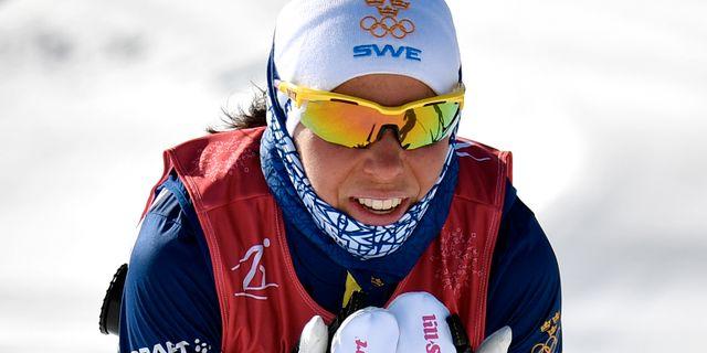 Charlotte Kalla tränar i Pyeongchang igår. Anders Wiklund/TT / TT NYHETSBYRÅN