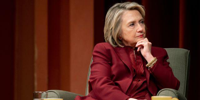 Hillary Clinton under en föreläsning den 10 oktober. Jacob Hamilton / TT NYHETSBYRÅN