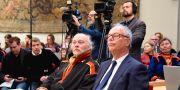Matti Blind Berg, Girjas samebys ordförande, och Peter Danowsky, Girjas advokat, under förhandlingen i Högsta domstolen. Anders Wiklund/TT / TT NYHETSBYRÅN