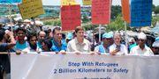 En demonstration till stöd för rohingyier i Bangladesh. RAFIQUR RAHMAN / TT NYHETSBYRÅN