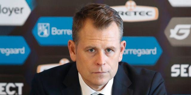 Stahre på dagens presskonferens Terje Bendiksby / TT NYHETSBYRÅN