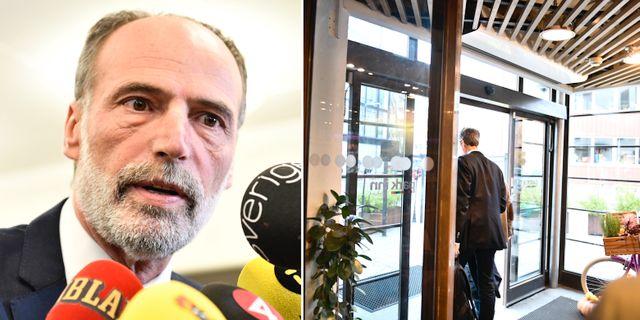 Behcet Barsom/Tomas Hilmo lämnar krismötet. TT.