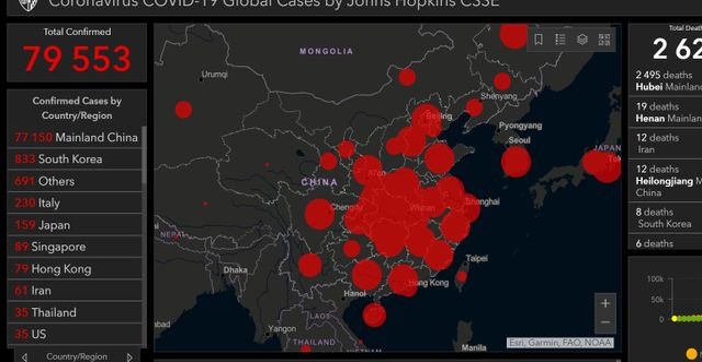 Foto: Skärmdump från Johns Hopkins-universitetets interaktiva karta av coronavirusets spridning.
