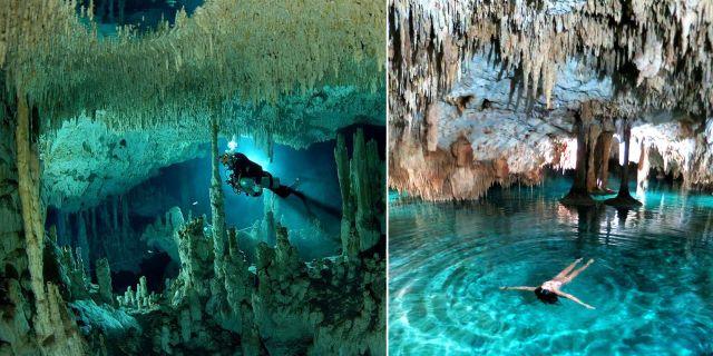 Efter många månaders arbete har dykare i Mexiko hittat en förbindelse mellan två grottor som nu utgör världens största undervattensgrotta. Wikicommons