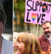 DUP-ledaren Arlene Foster/protester. TT