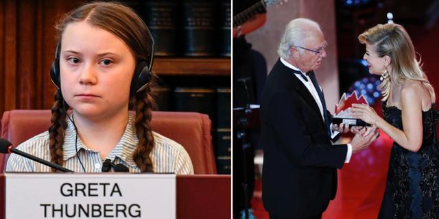 Greta Thunberg/Anne-Sophie Mutter tar emot priset ur kungens hand. TT