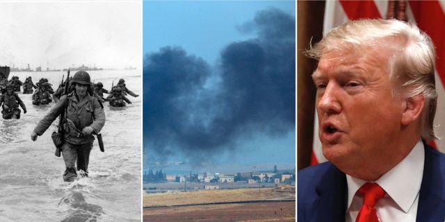 Landstigningen i Normandie/Rök i Syrien/Donald Trump.  TT.