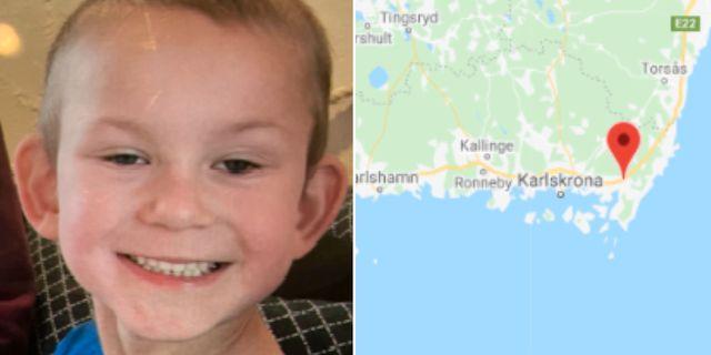 Den försvunne femåringen/Karta Polisen/Google Maps