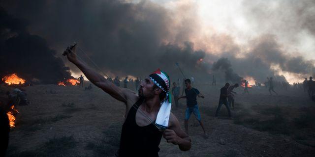 Bild från demonstrationerna idag. Khalil Hamra / TT NYHETSBYRÅN