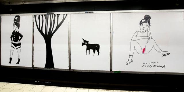 Liv Strömquists konst vid tunnelbanestationen Slussen i Stockholm. Pressbild/SL