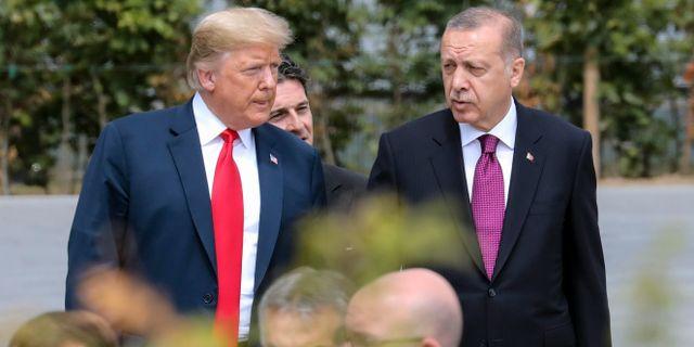 Trump och Turkiets president Erdogan under Natomöte förra sommaren. Ludovic Marin / TT NYHETSBYRÅN