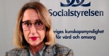 Iréne Nilsson Carlsson under dagens pressträff. SVT