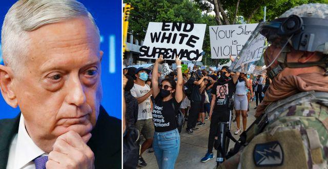 Jim Mattis/protester i Los Angeles. TT