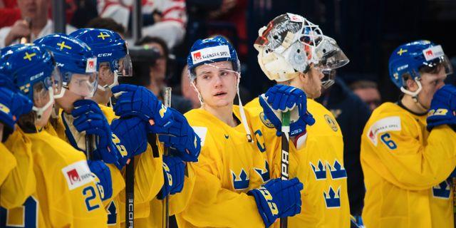 Sveriges Lias Andersson deppar efter f örlusten i finalen i JVM i ishockey mellan Sverige och Kanada den 5 januari 2018 i Buffalo. JOEL MARKLUND / BILDBYR N