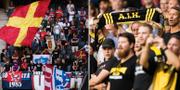 Helsingborgs och AIK:s fans under dagens match. Bildbyrån