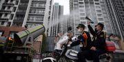 Arkivbild: En offentlig plats i Guangzhou desinfeseras CHINA DAILY / TT NYHETSBYRÅN